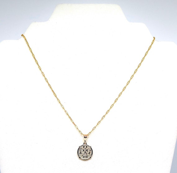 """The """"Rebel"""" 16"""" 18k gold filled coin pendent necklace."""