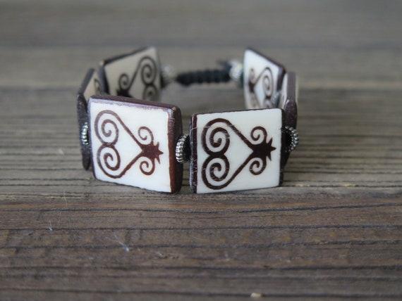 "7 1/2"" Ox bone ""Heart"" beaded Shambahla bracelet"
