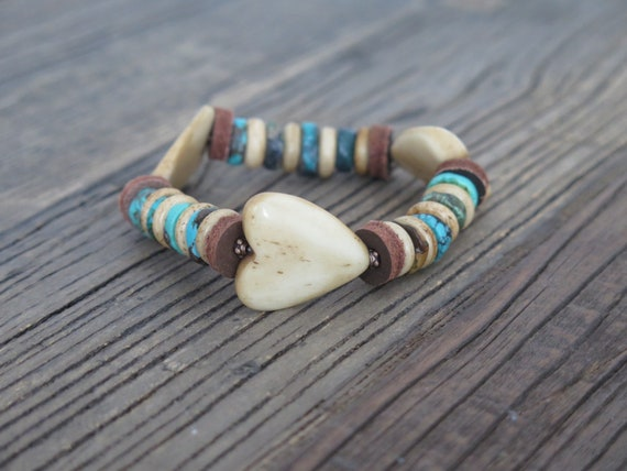 "Hand beaded Bone ""Heart"" bracelet accented with Turquoise and vintage findings."