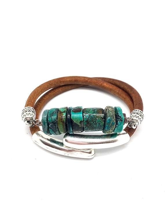 Hand beaded double wrap Turquoise bracelet/choker