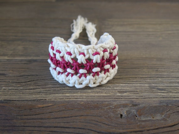 Hand knotted leather and cotton Shambahla bracelet