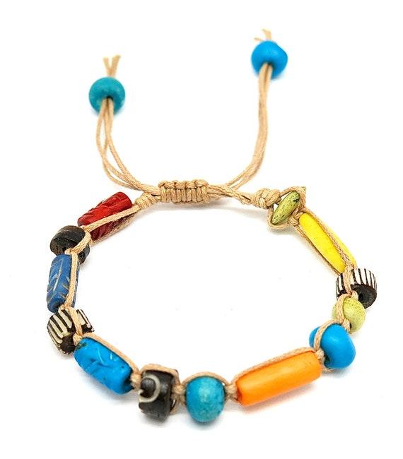 """7 1/2"""" Handmade Ox bone Shambahla bracelet"""