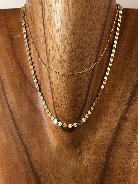 "The ""Amelia"" 14 1/2"" 14k gold filled choker double strand necklace"