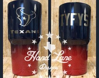 Custom Powder Coated Houston Texans YETI/HOGG/rtic/OZARK Tumbler 20oz or 30oz