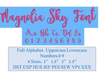Embroidery Font, Magnolia Sky Embroidery Font