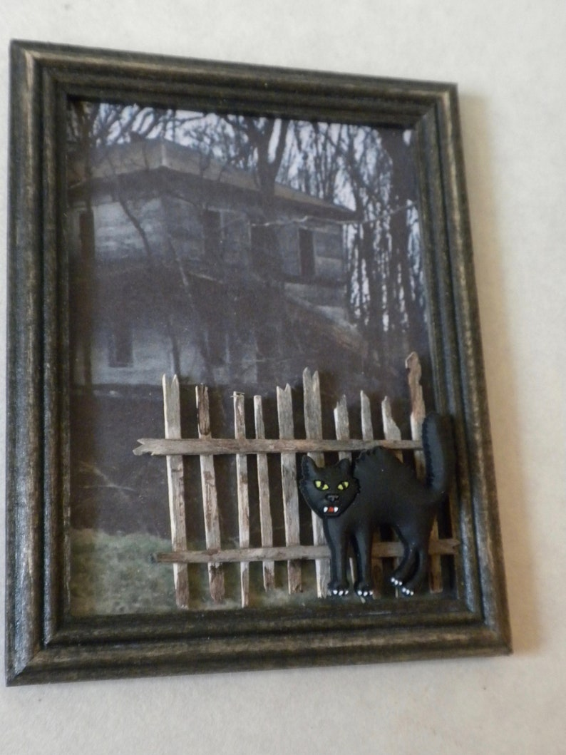 Halloween Decor, Haunted House, Miniature Wall Decor, Dollhouse Picture,  1:12th Or Barbie Scale, Diorama