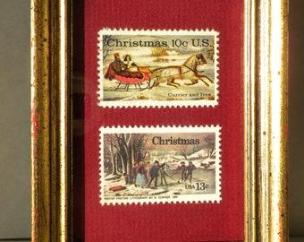Framed Christmas postage, vintage Christmas stamps, Christmas decoration, stocking stuffer, thank you gift