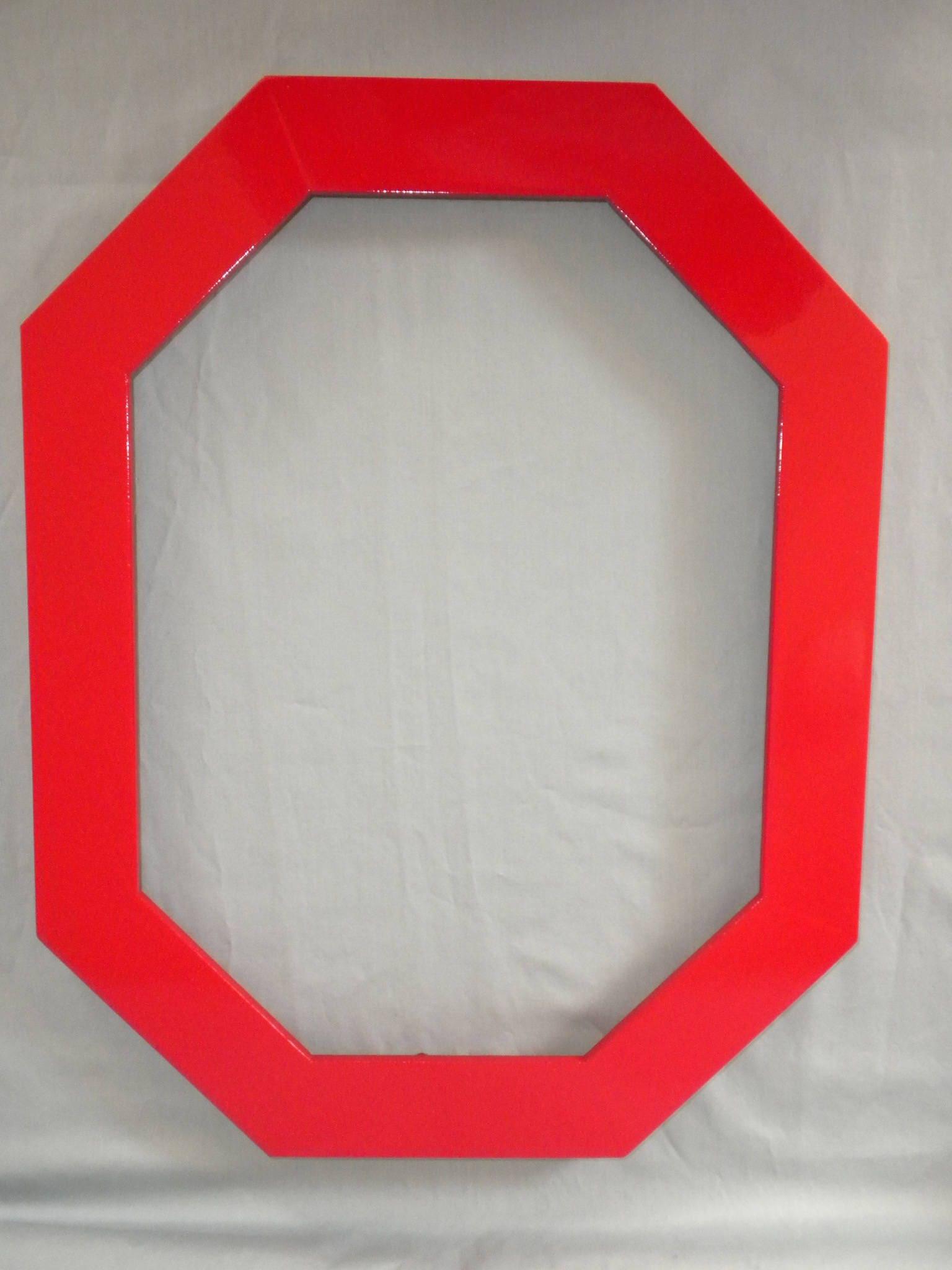 Achteck Rahmen rot Holz mit Passepartout Glas &
