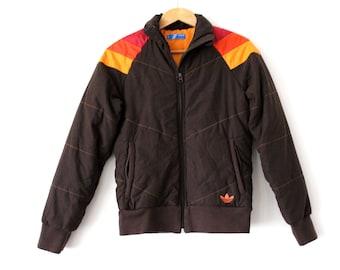 Adidas Trefoil Vintage Jacke Bomber Orange Blau M 90er retro