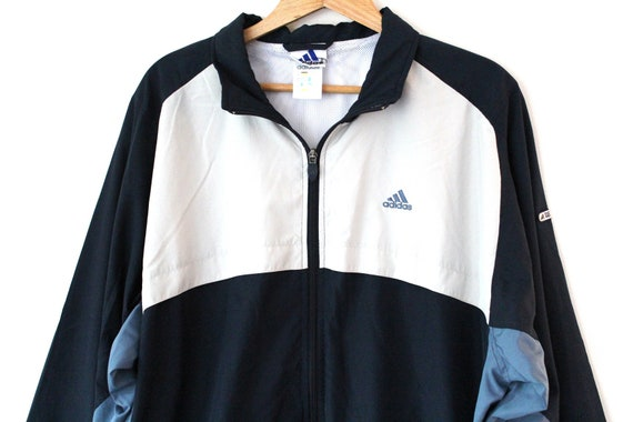90's Adidas Sweatshirt, Vintage Windbreaker, Blue White Jacket, Training Tracksuit, Track Jacket, Adidas Tennis, Activewear