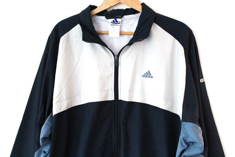 ADIDAS Windbreaker, Vintage Adidas Jacket, Blue Beige Adidas Windrunner, Adidas Tennis Sportswear, Zip Up Adidas Sweatshirt, Table Tennis