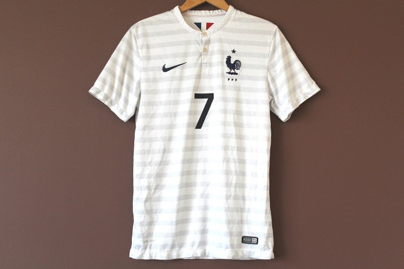 super popular 8c0a9 52c95 Vintage NIKE Football Shirt, French National Team Soccer Jersey, White Gray  Nike Jersey, France Football Shirt, Retro Rare Football T-shirt