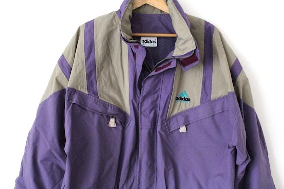 Vintage ADIDAS EQUIPMENT Jacke, lila Adidas Regenmantel, Retro Adidas Windbreaker, Hüfte hüpfen Streetwear, wasserdichte Kapuzenjacke, Größe L