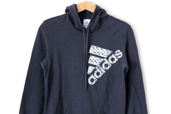 Vintage ADIDAS Hoodie, Rare Sweatshirt, Hip Hop Streetwear, Retro Track Jacket Pullover, Gray Adidas Tracksuit, Big Logo, Sportswear