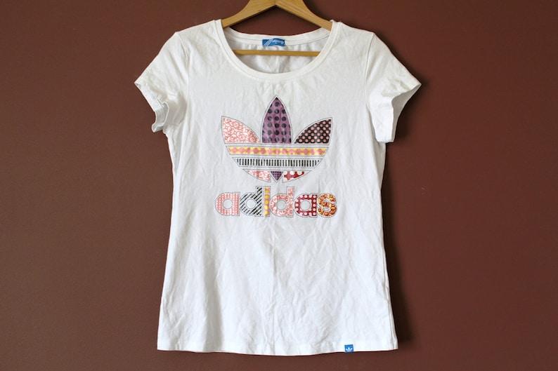 7014c5437c3b4 Vintage ADIDAS Shirt White Adidas Trefoil T-Shirt Short | Etsy