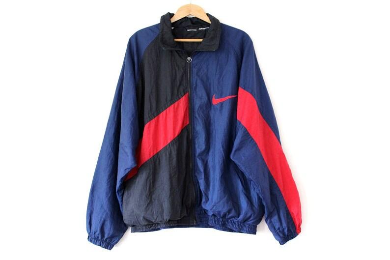 Rare NIKE Windbreaker Vintage Nike Jacket Blue Red Black  6c721b7f9