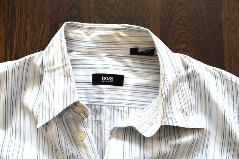 71e693cc5 HUGO BOSS Shirt Vintage Hugo Boss Striped Shirt White Blue | Etsy