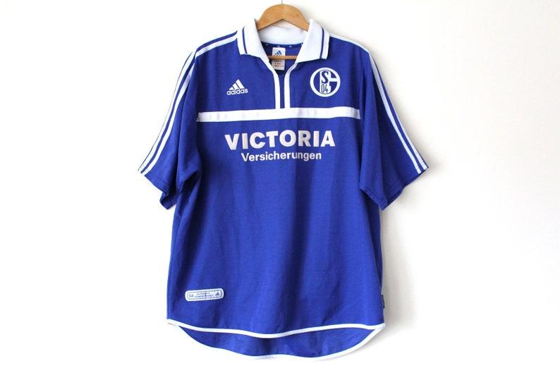 6517a385a48 Rare Vintage FC SCHALKE 04 Shirt Blue White Adidas Football | Etsy