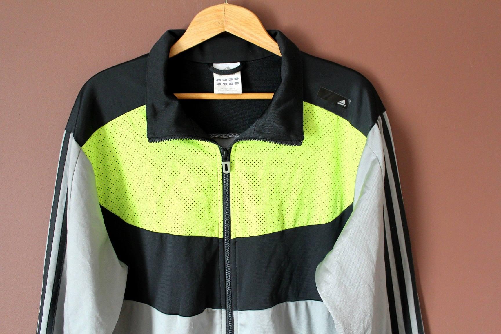 d82db7cb51493 90's ADIDAS Jacket, Vintage Adidas Windbreaker, Retro Hip Hop Grunge  Trainer Sport Jacket, Rare Large Size Shiny Gray Adidas Tracksuit