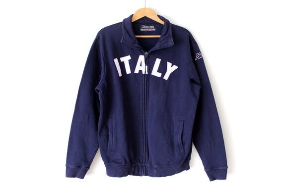 Zeldzame KAPPA jas, vintage trui jumper, groot formaat Sweatshirt, hip hop Streetwear, blauwe trainingspak, Kappa Italië