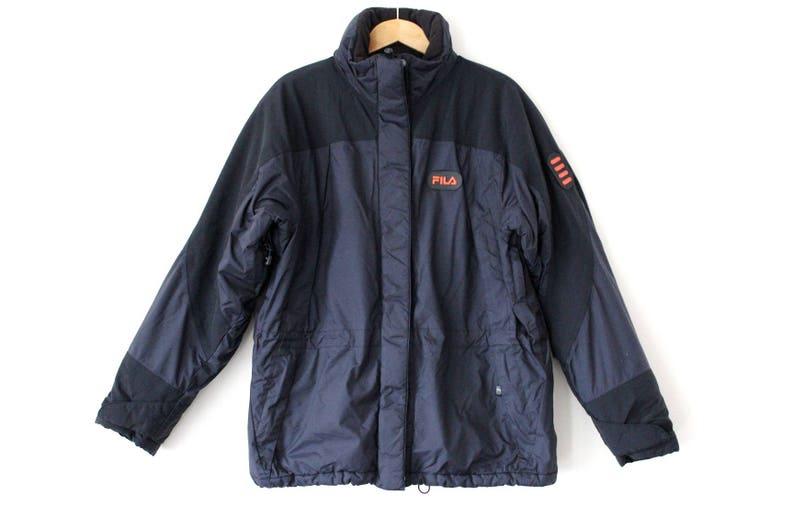 34a0ac78cb Vintage FILA Jacket 90's Fila Polyester Puffer Black | Etsy