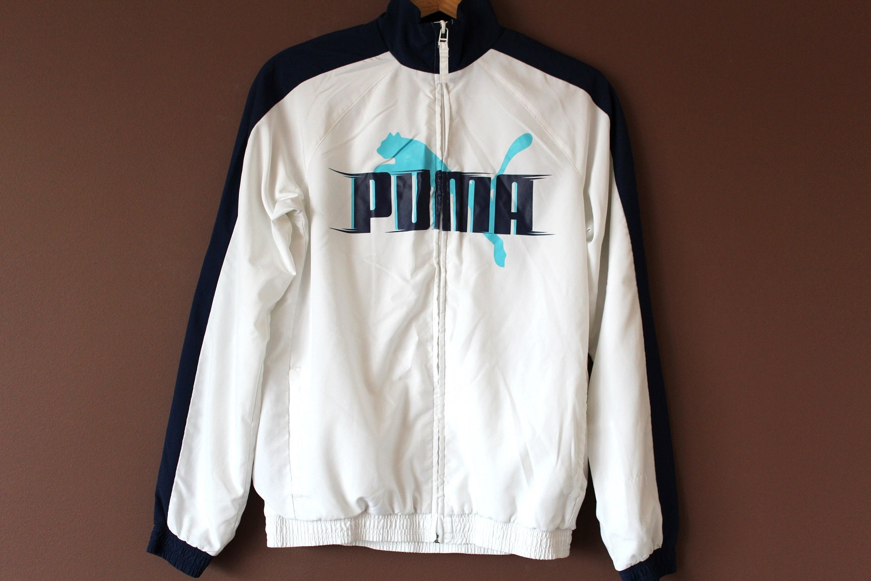 ac095704f456 90 s PUMA Windbreaker Vintage Puma Jacket White Blue