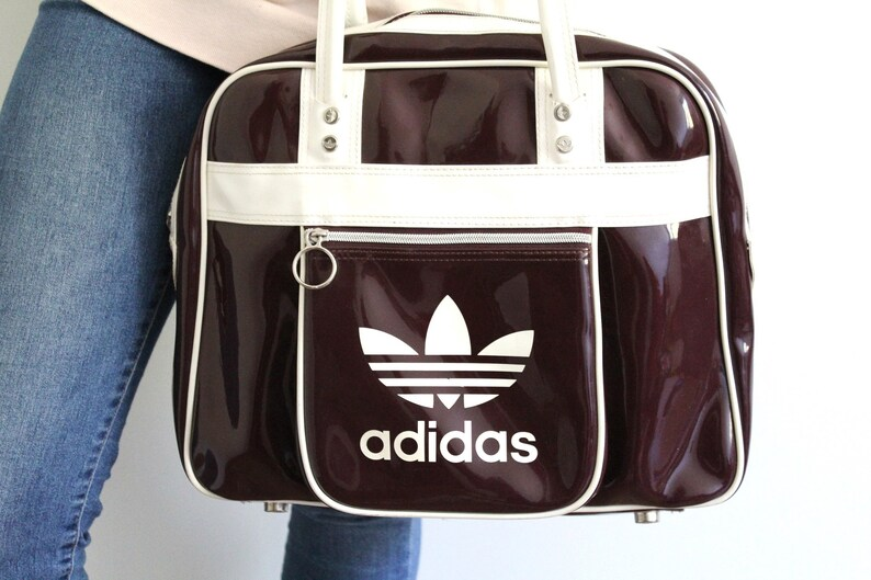 Vintage ADIDAS Handbag Burgundy White Adidas Bag Trefoil  ce544d61fb4fa