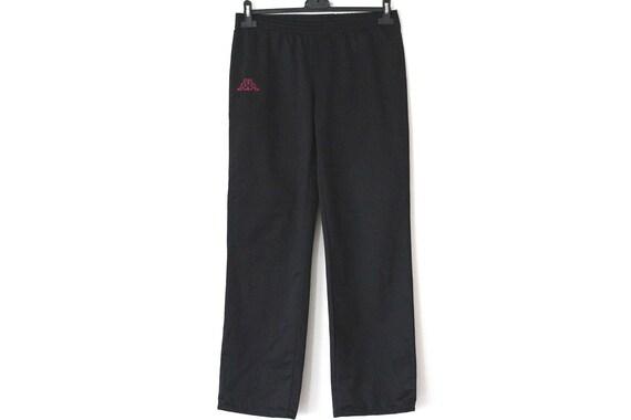 90's KAPPA Track Pants, Vintage Sport Pants, Women's Pants, Black Shiny Pants, Retro Joggers, Rare Trousers, Size M