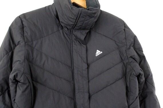 Vintage ADIDAS Jacket, 90s Adidas Polyester Puffer, Blue Red Parka Jacket, Long Winter Coat, Retro Adidas Athletic Hip Hop Streetwear Size L