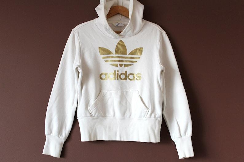 white gold adidas sweatshirt vintage adidas hoodie big logo | etsy