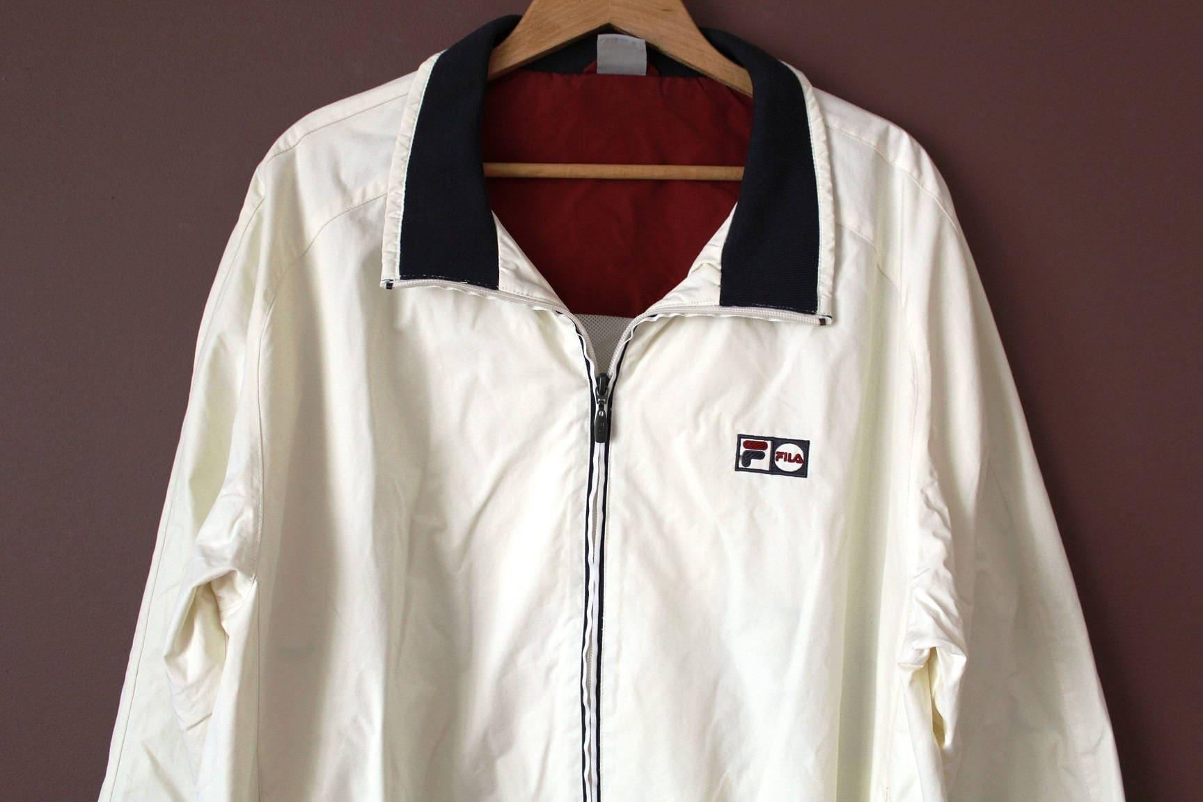 0035ca7725ad8 Vintage FILA Jacket, 90's Fila Windbreaker, Cream Blue Red Fila Windrunner,  Fila Tennis Sportswear, Fila Track Top, Fila Trainer Jacket
