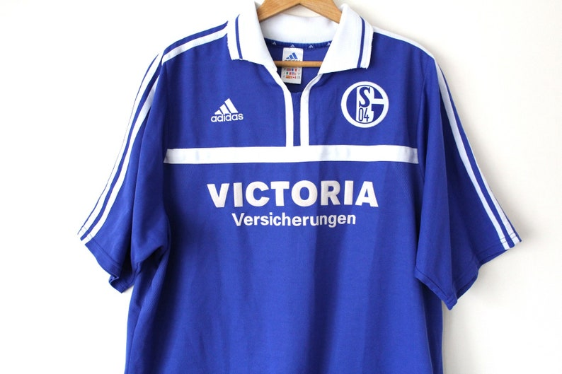 new styles dbb12 793ae Rare Vintage FC SCHALKE 04 Shirt, Blue White Adidas Football Shirt, German  Football Jersey, Made in UK, X Large Adidas Soccer Shirt