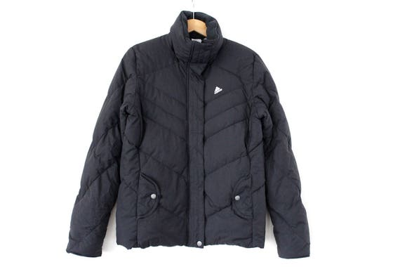 90er Jahre Ente Down ADIDAS Jacke, Vintage Down Puffer, schwarze Winterjacke, seltene Damen Ente Da Puffa Mantel