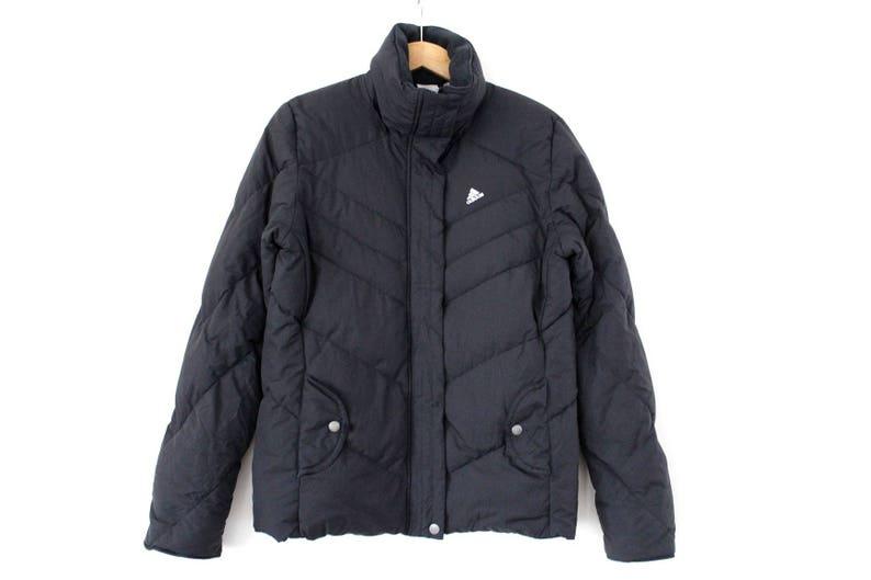 ea8c4eb60 90's Duck Down ADIDAS Jacket, Vintage Adidas Down Puffer, Black Adidas  Winter Jacket, Rare Duck Down Adidas Parka, Adidas Puffa Coat