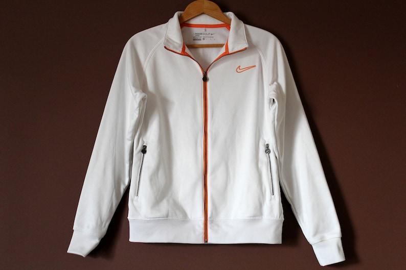 f72fae93bf85 Vintage NIKE Jacket White Orange Nike Golf Jacket Unisex