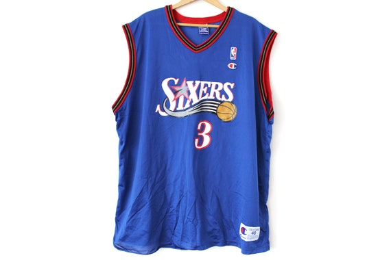 Vintage Philadelphia Sixers Basketball Jersey, Blu