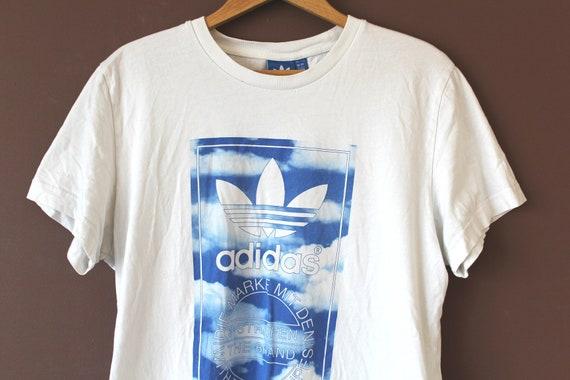 Vintage ADIDAS Shirt, Short Sleeve Adidas Sweatshirt, White Blue Adidas T shirt, Retro Trefoil Adidas Tee, Hip Hop Streetwear, Size L