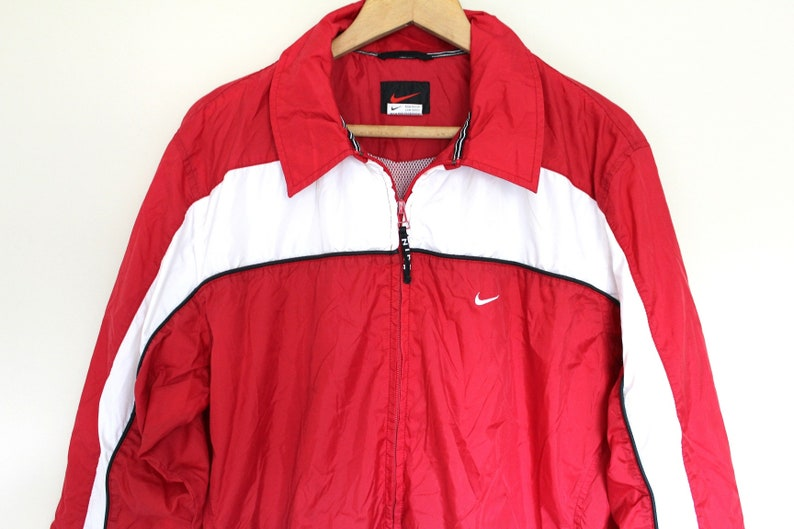 90 s NIKE Windbreaker Red White Nike Jacket Vintage Nike  0c7d02528