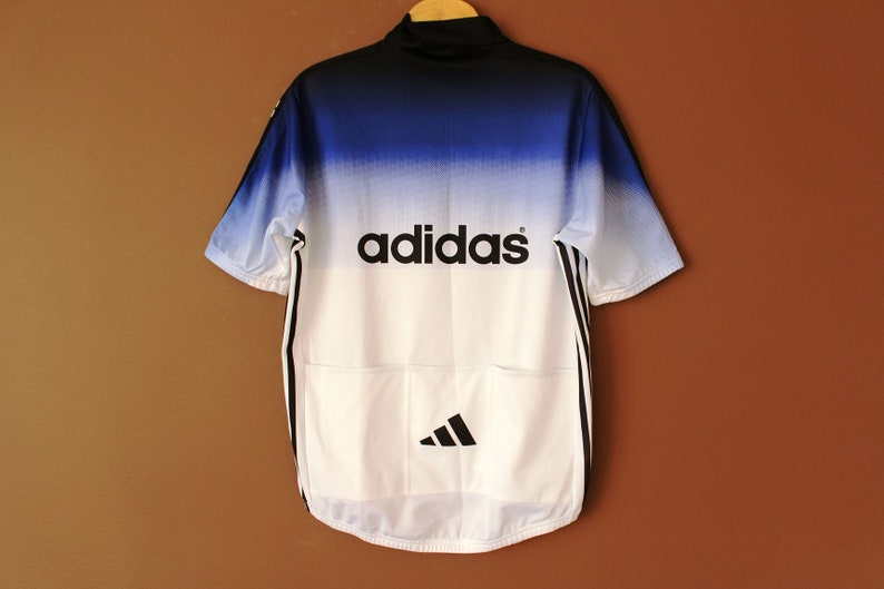 Vintage ADIDAS Cycling Jersey White Blue Black Adidas Jersey  be3608332