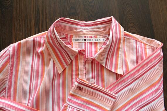 Tommy Hilfiger Button Down Striped Shirt Retro Style Streetwear