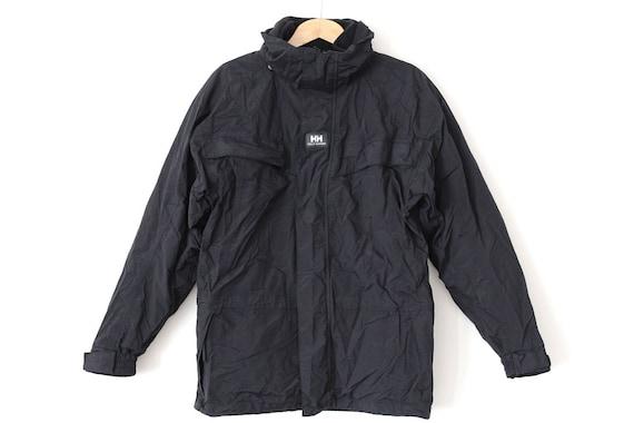 90er Jahre HELLY HANSEN Jacke, Vintage Fleece Tech Jacke, schwarze Wintermantel, Retro Arbeit tragen, Ski Schneejacke, Segel Yacht Jacke