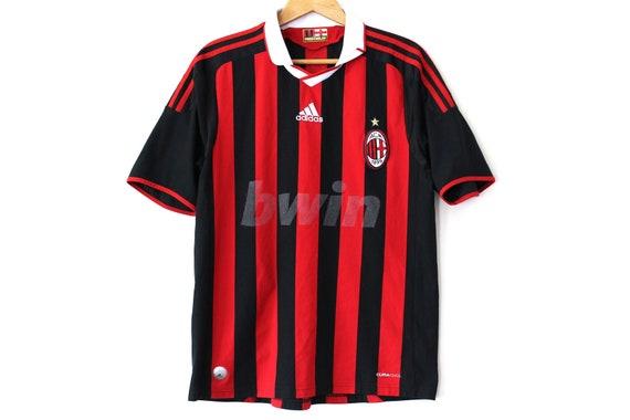 Vintage AC MILAN Jersey Red Black Milan Home Shirt Adidas  d47a1b776