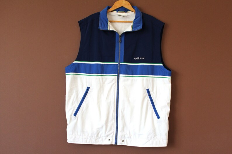 4bf05a441964d Vintage ADIDAS Vest Blue White Adidas Sweatshirt Sleeveless