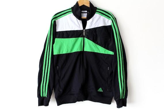 Vintage Adidas Tracksuit Black Green White Adidas Jacket Etsy