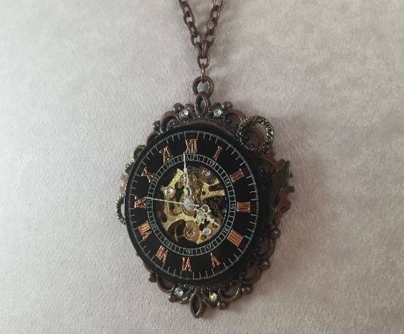 Steampunk Time Cameo Necklace Copper