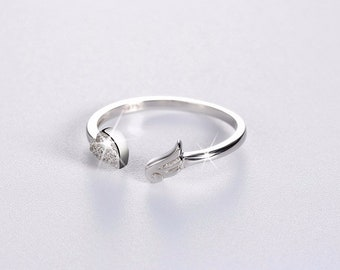 Heart Shape Angel Wing Sterling Silver Adjustable Ring Jewelry R09