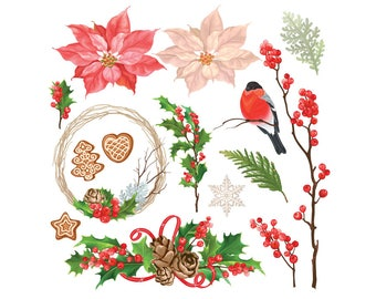 Watercolour Christmas Elements 15 Clip Art Graphic Design PNG Vector AI High Resolution N53