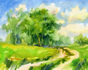 Watercolour Landscape Painting Clip Art Image JPEG High Resolution SH170