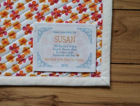 Quilt Patch Personalized Quilt Labels Wedding gifts Large Quilt Labels Personalized Sewing Labels Thank you Fabric Labels