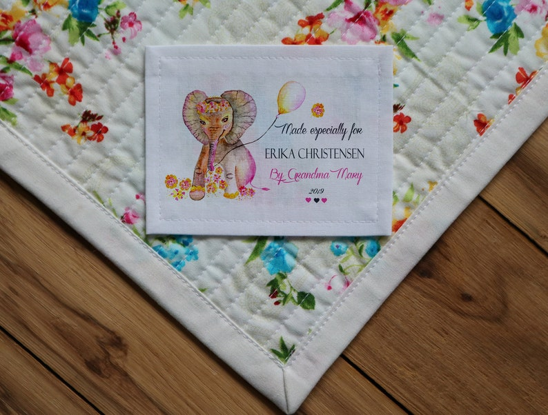 Large Kids Personalized Labels Personalized Quilt Labels Blanket Labels Birth Stats Girl Pink Birth Stats Baby Elephant